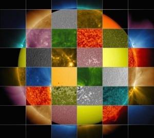 soleil observé plusieurs longueurs onde