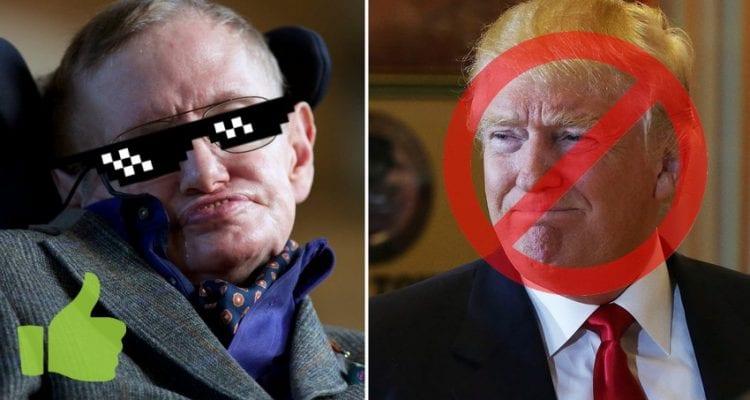 Physicien Stephen Hawking contre trump genius