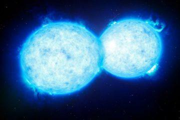 fusion deux étoiles nova rouge ciel illuminé