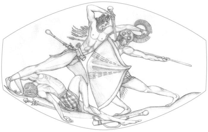 pylos combat pierre agate guerrier griffon art grec