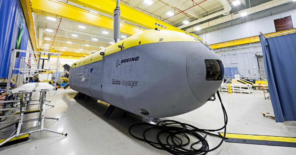 Echo voyager boeing robot underwater sousmarin sous-marin drone