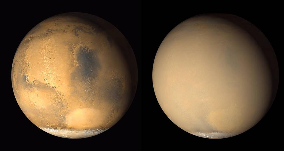 tempete de sable gigantesque sur mars