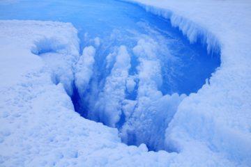 cratere dans glace