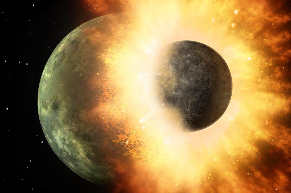 création impact lune terre