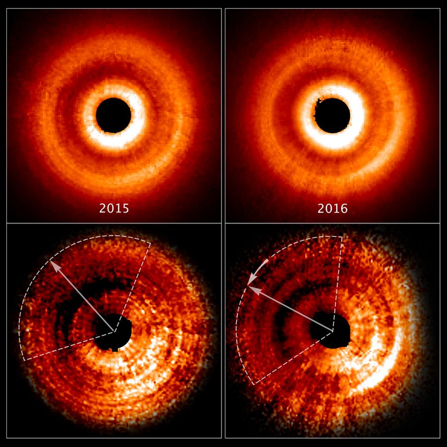 hubble telescope ombre sur disque étoile planete