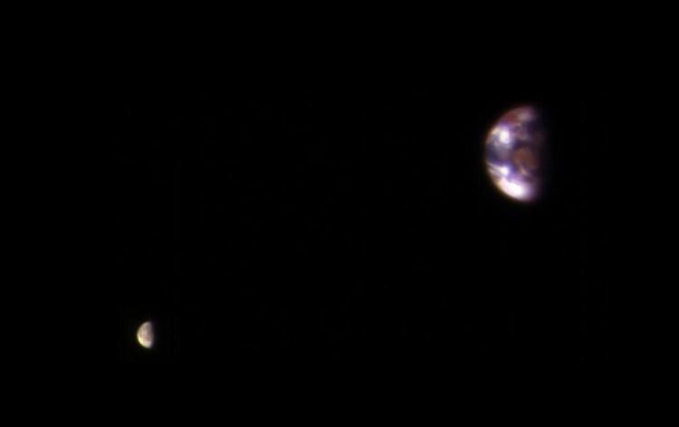 photographie terre lune depuis mars