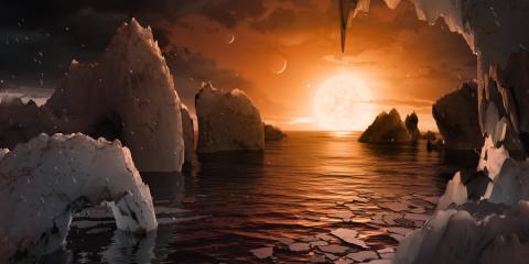 nasa trappist1 vue planète lunes orbite étoile système solaire stellaire