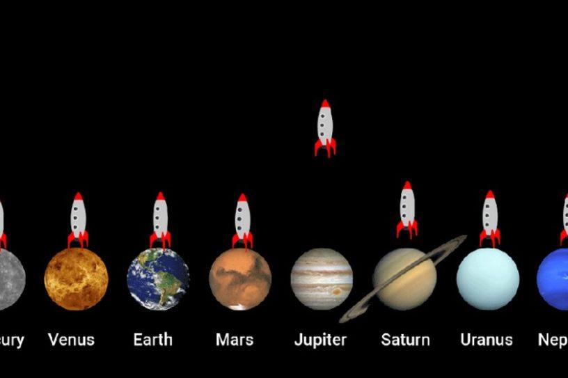 animation vitesse fusée planète gravitation gravité attraction terrestre terre jupiter