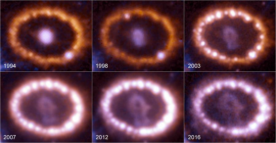 anneaux de feu radioactifs supernovae explosion géante bleue étoile