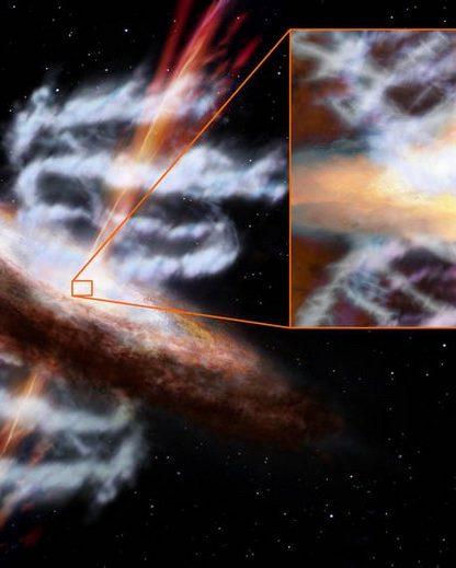 trou noir supermassif sorties ejections ultra froides gaz particules