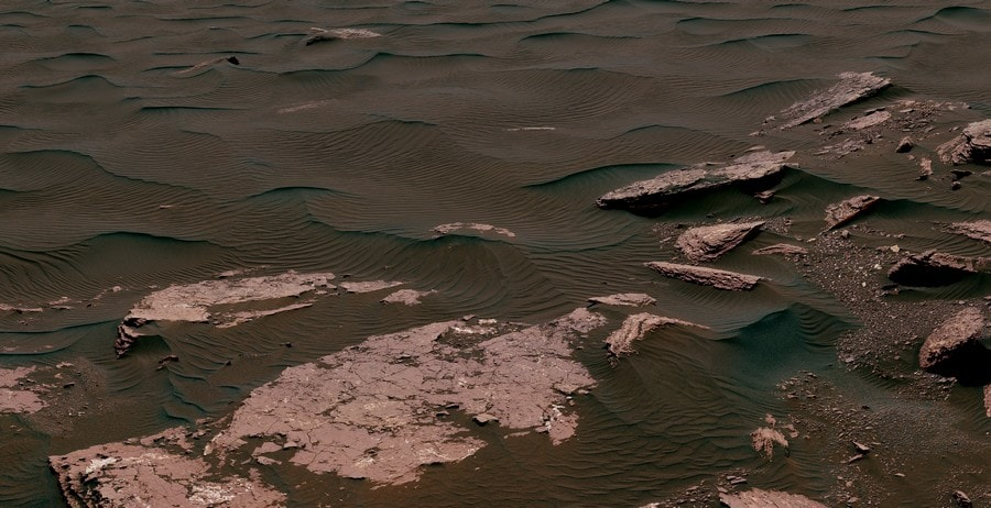 dunes linéaires en croissant rover nasa curiosity mars sable