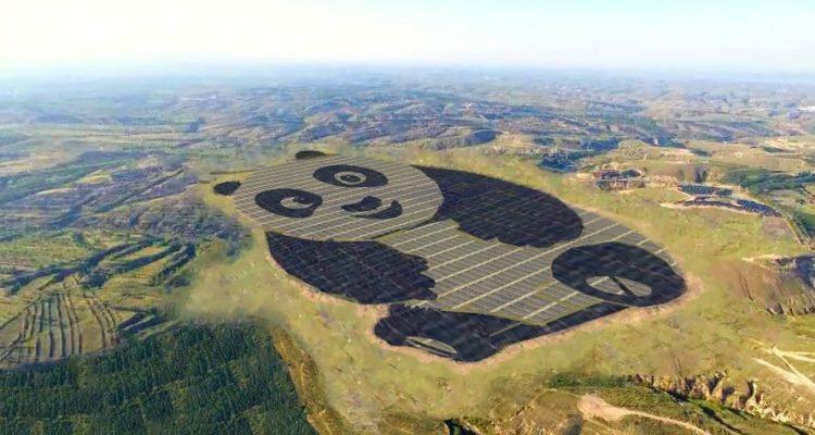 centrale solaire panda géant chine panneaux photovoltaiques