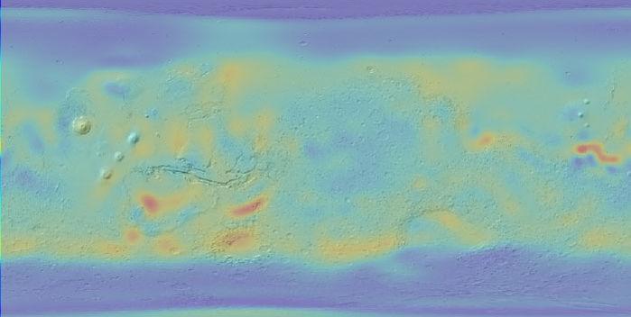 mars eau planète rouge glace découverte analyse données odyssey carte