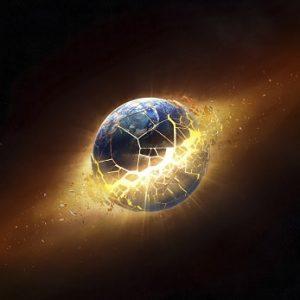 vue artistique dislocation de la terre energie fantome