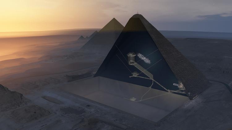 grande pyramide gizeh kheops vide chambre air intérieur découverte