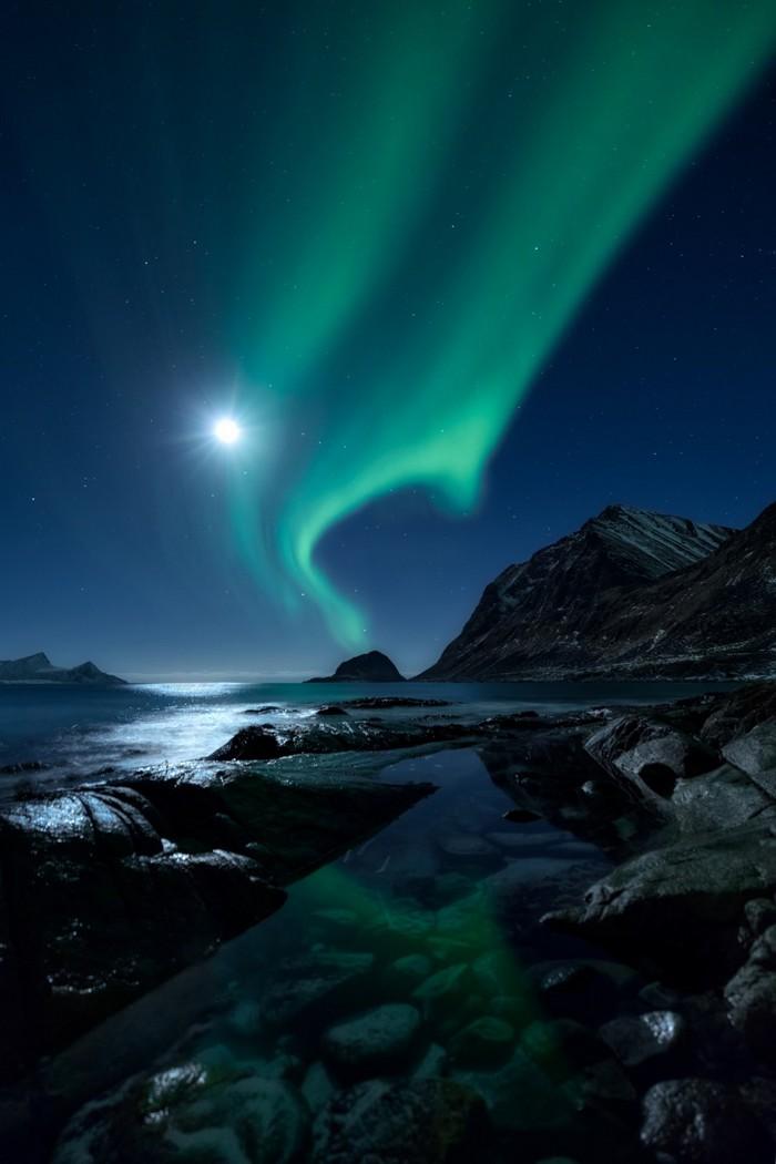 archipel lune aurore froid ciel nocturne