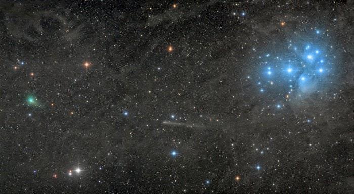 comete pleiades etoiles filantes ciel nocturne