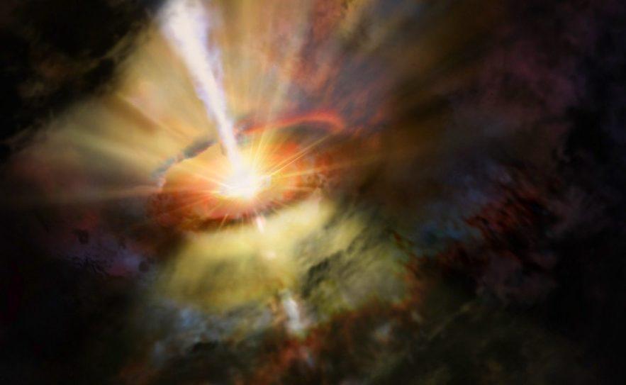 trou noir supermassif accretion disque matiere jet gaz plasma