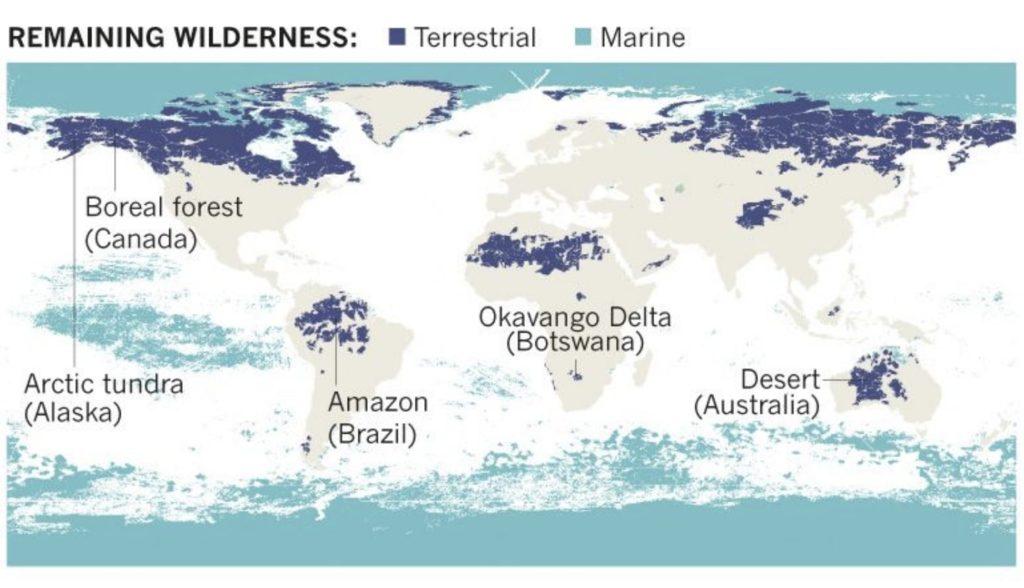 zones sauvages restantes carte mondiale