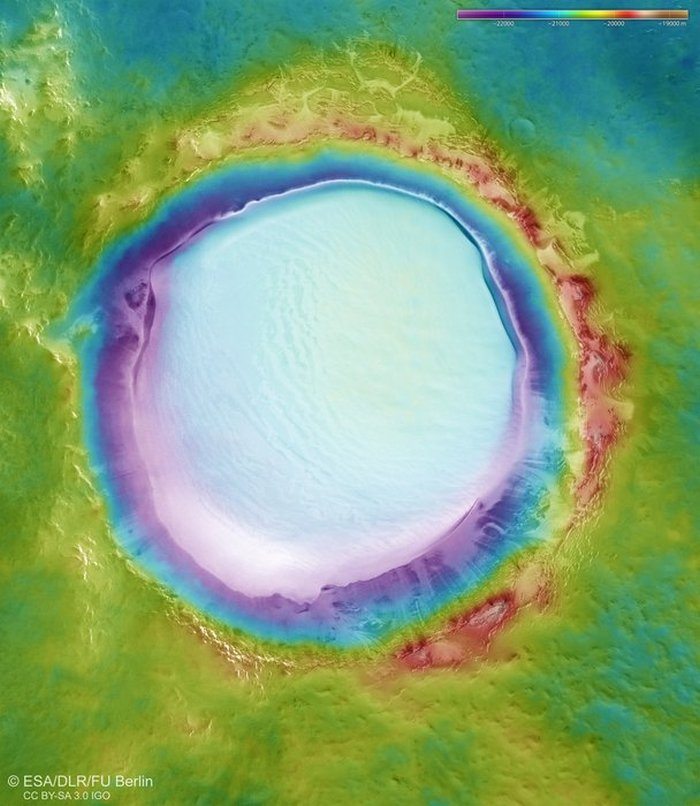 cratere glace korolev mars orbiter topographie