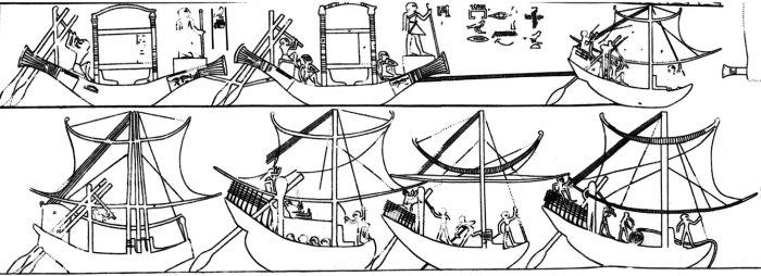description visuelle bateau egyptiens egypte antique pharaon