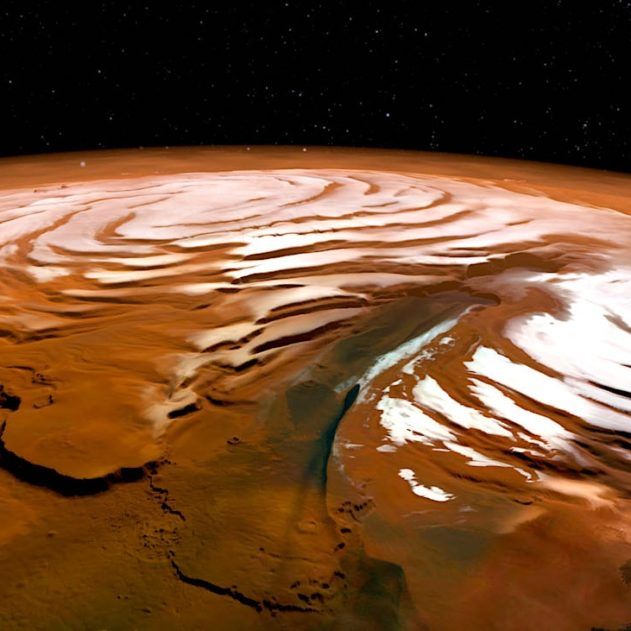 vue perspective calotte polaire nord Mars