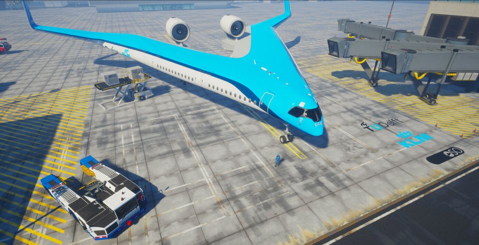 avion en v vu en hauteur