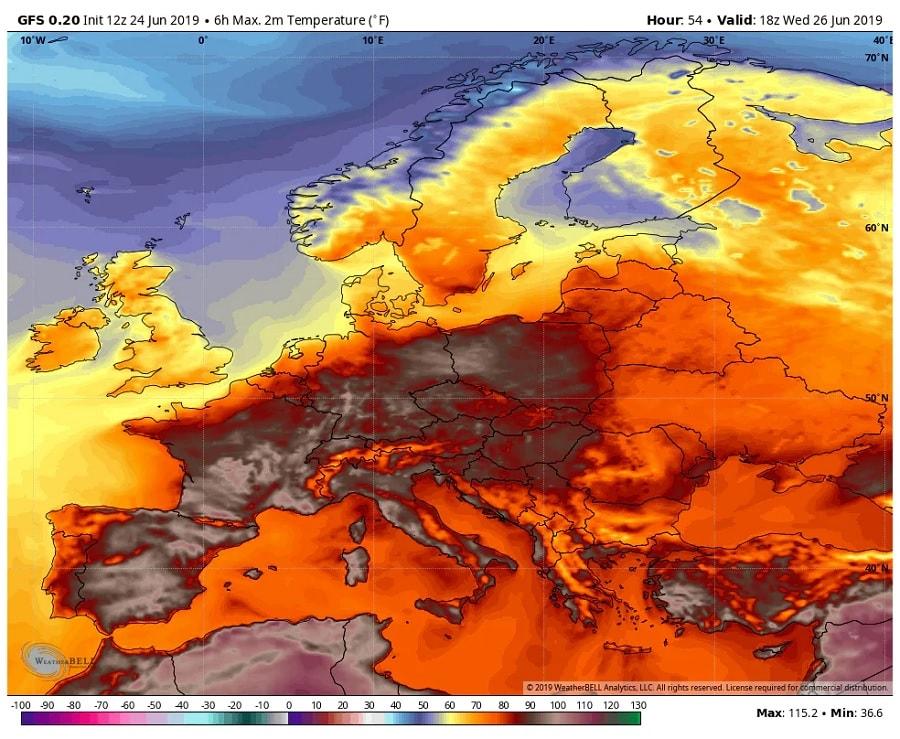 temperature europe
