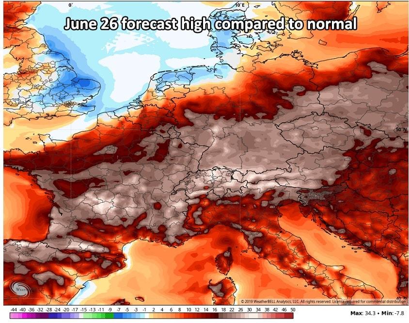 temperatures normales europe