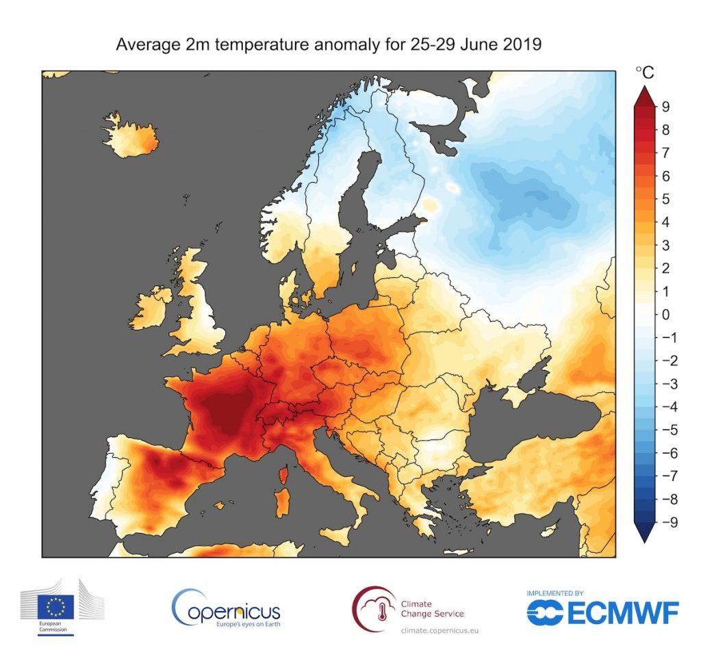 carte hausse temperatures europe juin 2019