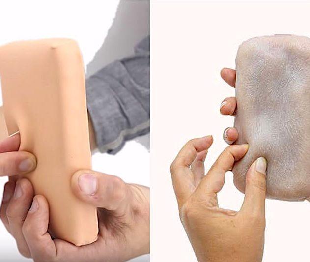 skin-on peau artificielle humaine smartphone