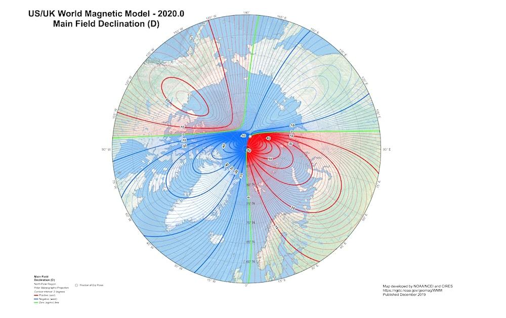carte emplacements poles magnetiques 2020