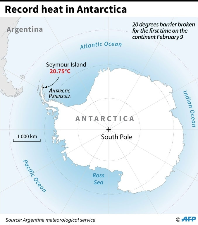 antarctique carte record temperature 2020