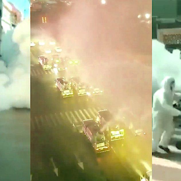 coronavirus chine pulverise desinfectant quartiers contenir epidemie