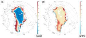 Anomalies fonte glace Groenland été 2019