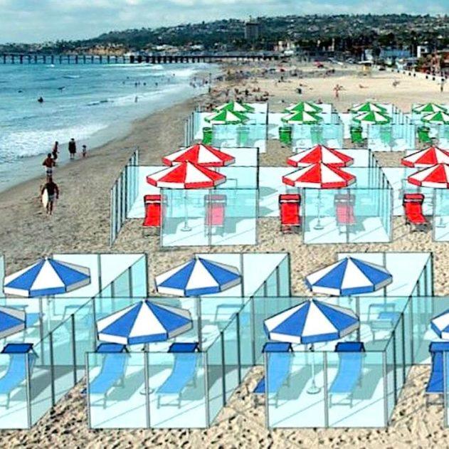 cages plexiglas plages Italie pandémie