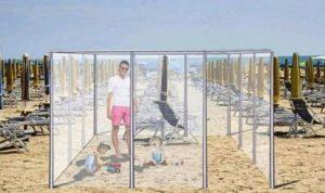 cages plexiglas plages italie post-pandémie