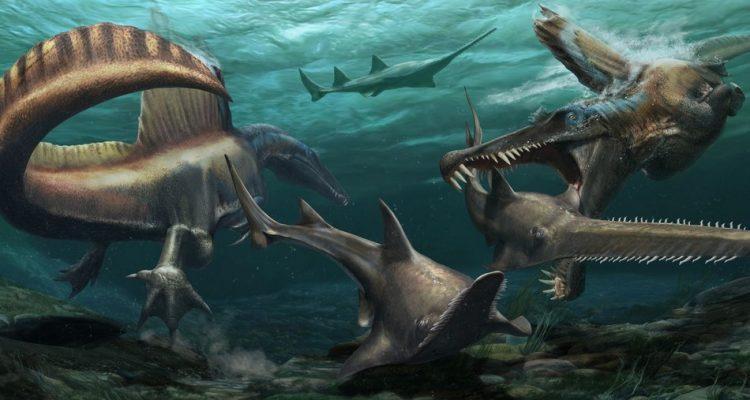 Le Spinosaure était probablement le premier dinosaure connu capable de nager ! (vidéo sur Bidfoly.com) By Stéphanie Schmidt) Dinosaure-aquatique-queue-nager-750x400