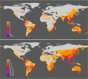 carte répartition géographique espèces danger extinction