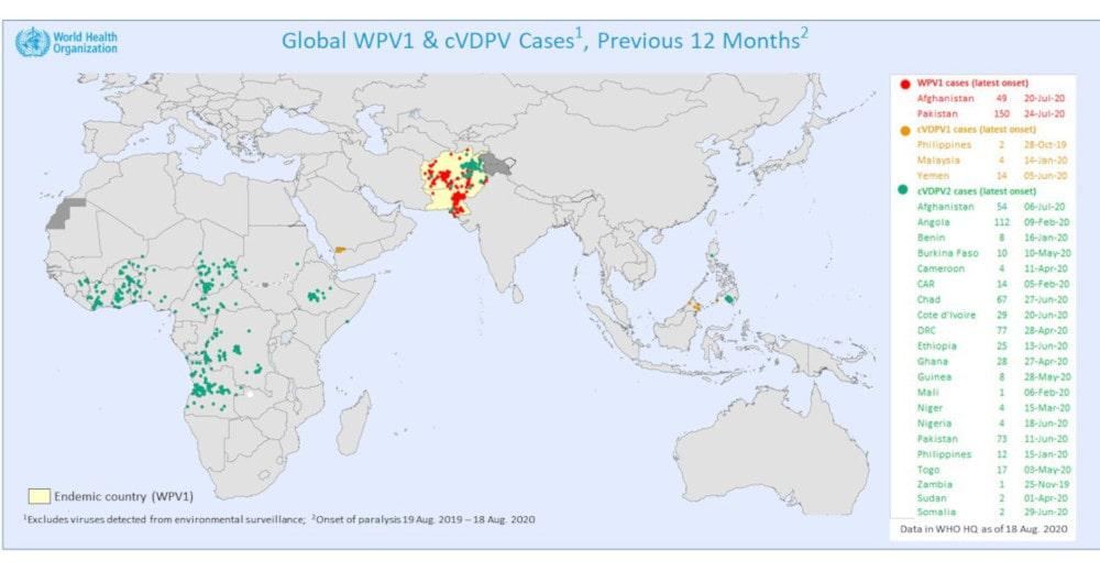 carte cas poliomyélite monde