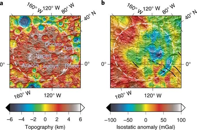 données topographiques gravimétriques cratère cérès