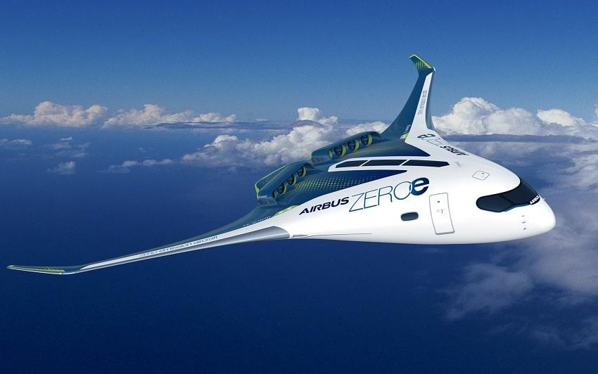 Airbus modèle avion hydrogène V aile mixte