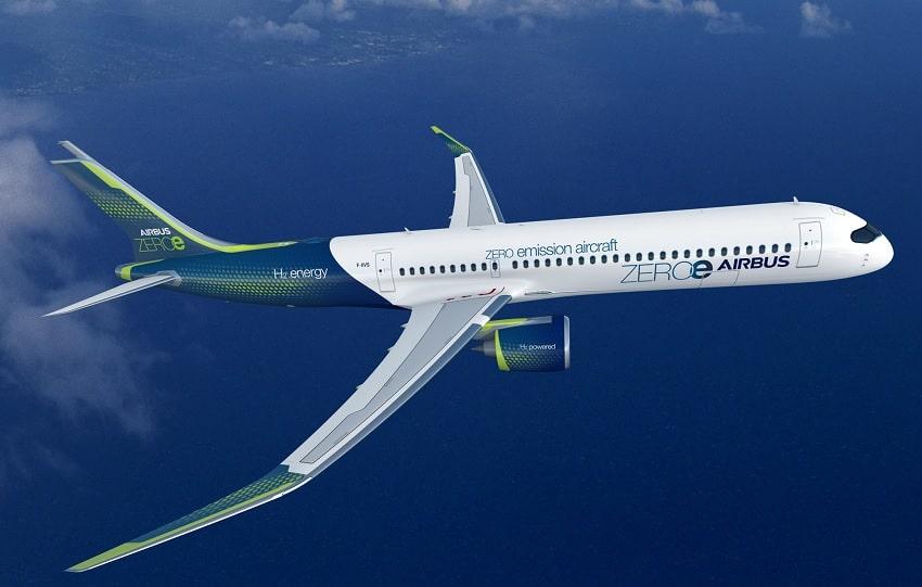 Airbus modèle avion hydrogène turbopropulseur
