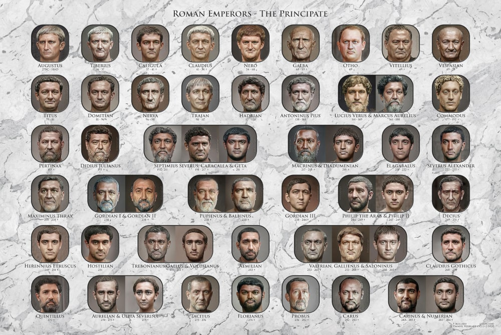 base portraits empereurs romains