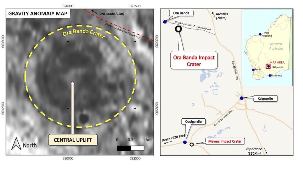 carte anomalie cratere meteorite vieux 100 millions annees ora banda