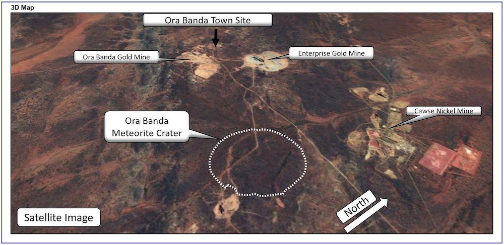 carte site impact ora banda cratere meteorite vieux 100 millions annees