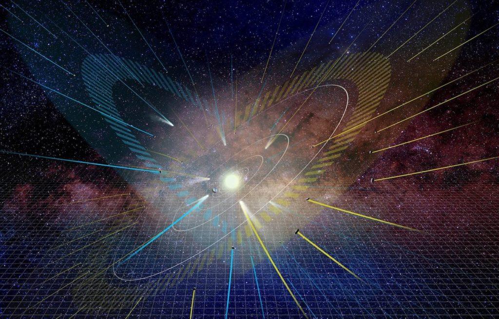 deuxieme plan alignement systeme solaire vue artiste cometes soleil ecliptique vide