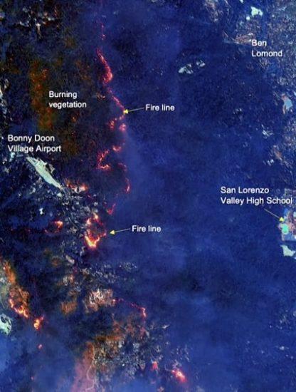 étendue incendies satellite états-unis californie washington