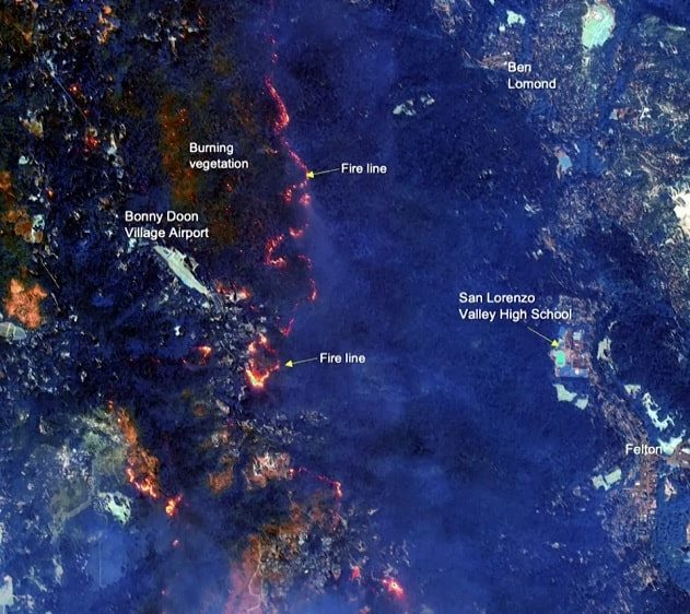 étendue incendies satellite états-unis californie washington