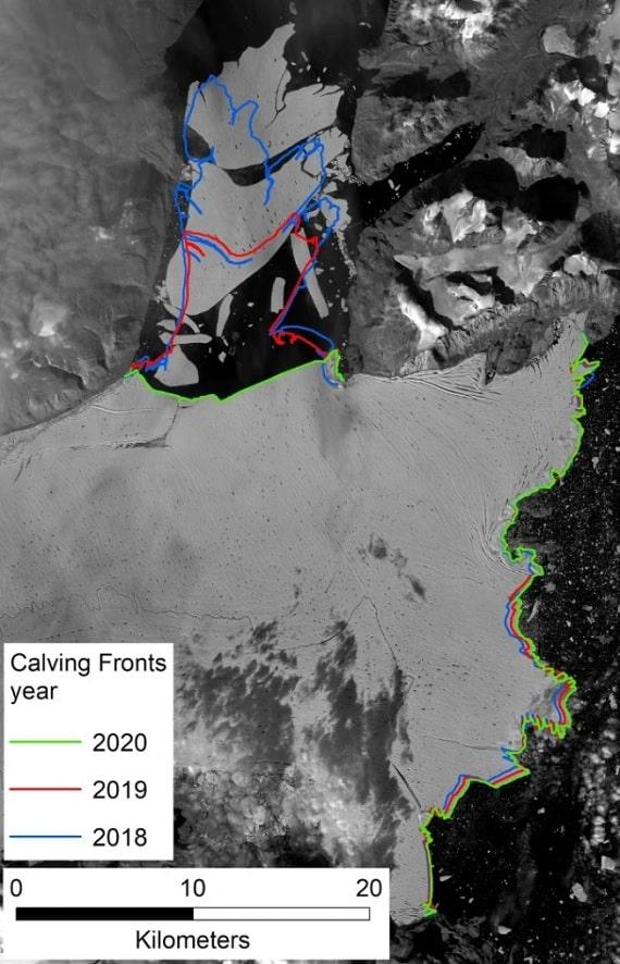 évolution étendue glacier Groenland vêlage satellite